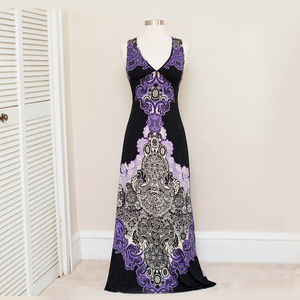Alyn Paige Black & Purple Knit Maxi Dress S